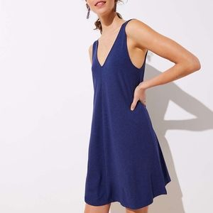 LOFT Blue Double V Sleeveless Swing Dress